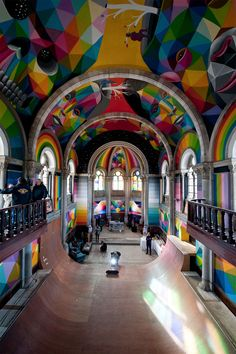 """Madrid-based artist Okuda San Miguel painted these awesome murals inside """"La Iglesia Skate"""" (The Skate Church), an abandoned church in Asturias that was acquired by… Image Deco, Okuda, Take Me To Church, Sistine Chapel, Chapelle, Skate Park, Kirchen, Street Artists, Santa Barbara"""