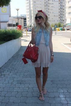 colete jeans + vestido