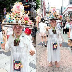 outsider artist Eijiro Miyama (nicknamed Boshi Ojisan or Hat Uncle) Japanese Streets, Japanese Street Fashion, Tokyo Fashion, Art Brut, Naive Art, Outsider Art, Really Cool Stuff, Harajuku, The Outsiders
