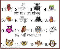 •Animal Owl Nail Art Decals• Kids Toe Adult Size You Choose | eBay