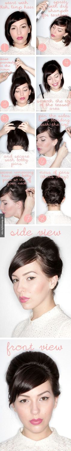 Vintage Hairstyles Updo Faux Updo Tutorial For Short Hair I need to buy some cute scarfs to do this - I've been getting a lot of inquiries about how I style my hair, now that it's short. So I put together this faux updo tutorial for short hair. Hair Tutorials For Medium Hair, Medium Hair Styles, Short Hair Styles, Hairstyle Tutorials, Vintage Hairstyles, Trendy Hairstyles, Bob Hairstyles, Bandana Hairstyles, Creative Hairstyles