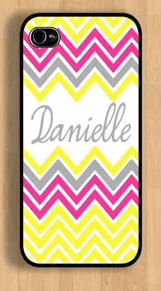 APPLE IPHONE 4 4s or 5 5s 6 6 PLUS PERSONALIZED CORAL YELLOW CHEVRON CASE #Apple