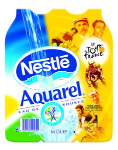 "Nestlé Aquarel is recognized as a strategic brand in Europe. In addition to conquering new markets, the brand is also counting on major partnerships. Here, is the picture of a partnership with the ""Tour de France"", one of world's most watched sporting events."