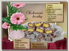 Kokosové kostky Christmas Baking, Toffee, Tiramisu, Muffin, Food And Drink, Cookies, Cheesecake, Breakfast, Facebook