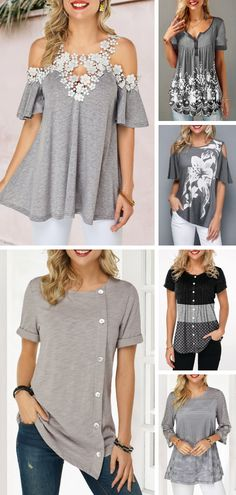 Advertisements Embrace summer with today's grey blouse. These designs are comf. - Advertisements Embrace summer with today's grey blouse. These designs are comfy but breathable, p - Fashion Mode, Diy Fashion, Trendy Fashion, Fashion Dresses, Womens Fashion, Modest Fashion, Stylish Tops For Girls, Trendy Tops For Women, Pretty Outfits