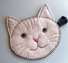 Handmade: Cat Face Pot Holder with Embroidery and Cat Print Backing
