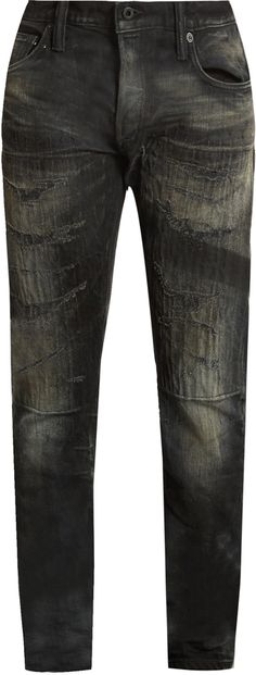 MASTERCRAFT UNION Slim tapered-leg distressed jeans Slim Man, Distressed Jeans, Leather Pants, Menswear, Legs, Stylish, Shopping, Fashion, Ripped Denim Jeans