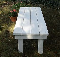 DIY Outdoor Bench This bench can add a lot of visual appear to your outdoor spaces. It was finished in classic white, and it looks like...