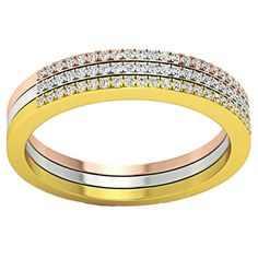 14k Tri-color Gold 1/5ct TDW Round-cut Diamond Stackable Wedding Contour Band Guard Ring
