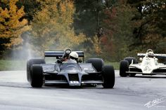 Elio De Angelis: Shadow DN9 - 1979 being lapped by Jonesy at Watkins Glen before the track dried out.