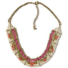 Hollister Beaded Statement Necklace (87 SVC) ❤ liked on Polyvore featuring jewelry, necklaces, white and gold, gold jewelry, gold jewellery, white bead necklace, white statement necklace and stacked necklaces