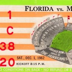 Football Ticket, Football Art, Vintage Football, College Football, Christmas Gifts For Sports Fans, Sports Gifts, Sports Posters, Art Posters, Man Cave Wall Art