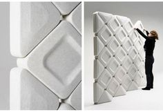 Planarq: Sistema de paneles acústicos a partir de plásticos reciclados.