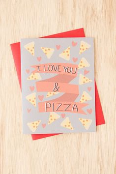 Turtle's Soup I Love You And Pizza Card