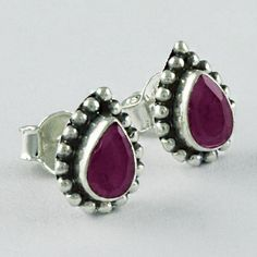 RUBY STONE 925 STERLING SILVER EARRING STUDS JEWELRY ST5699 #Handmade #Stud