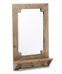 Love this Distressed Natural Barnwood Wall Hook/Shelf Pub Mirror by MCS Industries on #zulily! #zulilyfinds