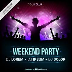 Brochura festa com dj silhueta Vetor Pre. Dj Download, Vector Free Download, Free Poster, Music Party, Dj Party, Event Poster Design, Retro Waves, Night Club, Software