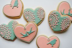 Lace and bird cookies