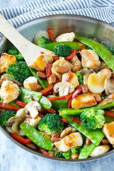 This recipe for chicken almond ding is a stir fry full of chicken, veggies and crunchy almonds, all tossed in a savory sauce. The perfect healthy dinner that's ready in a flash! Chicken Almond Ding Recipe, Chicken Salad Recipe With Almonds, Almond Chicken, Honey Garlic Chicken, Chicken Salad Recipes, Asian Recipes, Healthy Recipes, Ethnic Recipes, Easy Recipes