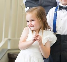 Love this sweet flower girl dress! See more from this traditional blue Nashville wedding by @annthoni with Forever Images! | The Pink Bride www.thepinkbride.com