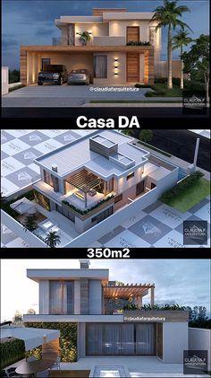 Casa DA / Cláudia F Arquitetura Projeto residencial / Cláudia F Arquitetura # Modern House Facades, Modern Architecture House, Modern House Plans, Architecture Layout, Dubai Architecture, Chinese Architecture, Bungalow House Design, House Front Design, Small House Design