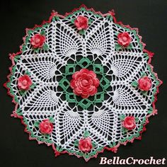 This doily is dedicated to my Big Mama, Dorothy Ferguson, whose love of roses and crocheted lace lives on in my heart! Dorothy's Roses Doily By Elizabeth Ann White For BellaCrochet Size: About acr Thread Crochet, Knit Or Crochet, Crochet Crafts, Crochet Projects, Diy Crafts, Free Crochet Doily Patterns, Crochet Mandala, Crochet Flowers, Free Pattern