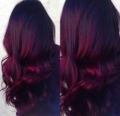 Red Velvet balayage- dark roots with vibrant burgundy ends. Done by Renée Spinale at The Dollhouse - All For Hair Color Trending Magenta Hair Colors, Bright Red Hair, Hair Color Auburn, Fall Hair Colors, Hair Color Dark, Ombre Hair Color, Cool Hair Color, Red Ombre, Ombre Style