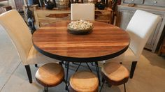 Artemano Pana round dining table in recycled teak with metal legs At Home Furniture Store, Round Dining Table, Decoration, Dining Room, Room Decor, Design Inspiration, Restaurant, House Design, Rustic
