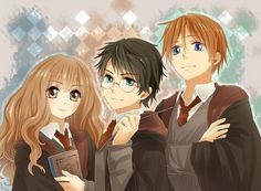 Anime picture with harry potter, hermione granger, and ron weasley Harry Potter Anime, Harry Potter Hermione, Harry Potter Fan Art, Ron Weasley, Hermione Granger, Fans D'harry Potter, Harry Potter Drawings, Harry Potter Characters, Harry Potter Fandom