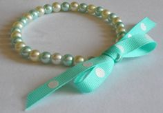 Pet Collar for Small Dogs and Cats. Aqua and White Pearl Beaded Collar with Bow.. $10.00, via Etsy.