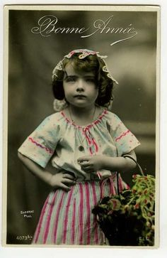 c 1910 Children Child Kid SERIOUS LITTLE GIRL tinted French photo postcard