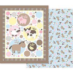 Creative Cuts Nursery Blanket Fabric Kit, Farm Animals