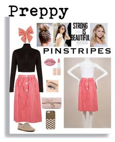 """""""My Preppy Pinstripes"""" by smillafrilla ❤ liked on Polyvore featuring Yves Saint Laurent, BCBGMAXAZRIA, Decree, ALDO, Neutrogena, Rimmel, Lime Crime, LULUS and Casetify"""
