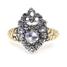 This remarkable antique ring feature Rose Cut Diamonds in Gold. Gold Diamond Rings, Rose Cut Diamond, Gold Rings, Antique Rings, Antique Jewelry, Vintage Jewelry, Platinum Ring, Gemstone Colors, Rose Buds