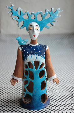 ПТИЦА СЧАСТЬЯ - КОЛОКОЛЬЧИК - синий, птица счастья, счастье, гармония, глина, колокольчик