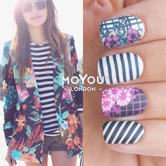 Just the perfect mani to enjoy the last bits of sunshine!  Mani created with - Trend Hunter 01/02 and Holy Shapes 17 - nail polishes : PINK! / White Knigt / Midnight Madness.