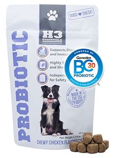H3 Essentials  Probiotics for Dogs  For Immune and Digestive Health  Chicken Flavor  60 Pieces >>> To view further for this item, visit the image link.(This is an Amazon affiliate link and I receive a commission for the sales)