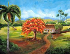 "Exclusive Art. '""Cuban Landscape III"" Cuban Oil Painting 30"" x 24""."