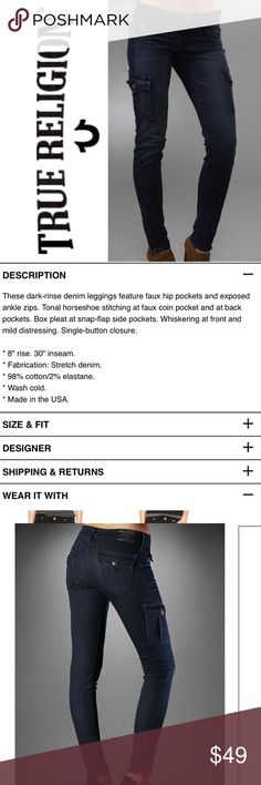 "True Religion Krista Cargo Skinny Jeans ✔️Inseam: 28.5"" perfect for boots! ✔️98% Cotton/2% Spandex ✔️Waist Flat: 15.5"" ✔️Excellent Condition! ✔️Back Flap Pockets True Religion Jeans Skinny"