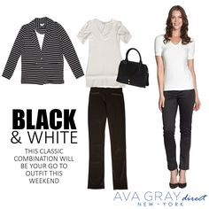 Black and White is the perfect combination for any occasion! Ava, What To Wear, Ootd, Black And White, Grey, Classic, Fashion Tips, Outfits, Gray
