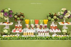 Fruits and veggie bar instead of or in addition to a candy bar at a party... Love it!