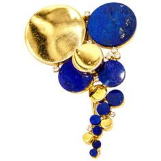 1960s Unusual Lapis Diamond Gold Brooch | From a unique collection of vintage brooches at https://www.1stdibs.com/jewelry/brooches/brooches/