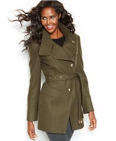 Kenneth Cole Reaction Belted Asymmetrical Wool-Blend Coat - Coats - Women - Macy's