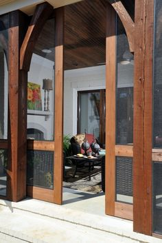 Sliding screen doors and heavy timber look