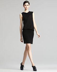 Drape-Top Jersey Dress by Donna Karan at Neiman Marcus.