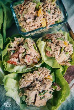 Creamy Paleo mayonnaise coating flaky chunks of tuna with diced bits of cucumber and crunchy celery? Sounds like a keto tuna salad to us!