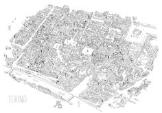 A three-dimensional illustrated map of Turin by James Gulliver Hancock