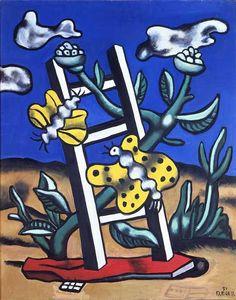 Deux papillons jaunes sur une échelle, oeuvre de Fernand Léger à voir au Musée Fernand Léger de Biot.