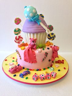 Candy Themed Baby Shower Cake | Candy land Baby shower | Pinterest