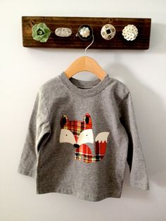 Red Plaid Friendly Fox Long Sleeved Applique Shirt by OhJustDandy, $20.00